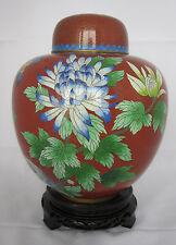 "10"" Chinese Beijing Cloisonne Cremation Urn China Red with Floral & Butterfly"