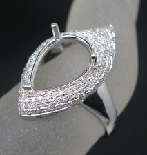 Pear Cut 9×13mm Solid 14K White Gold Natural Diamond Semi Mount Engagement Ring