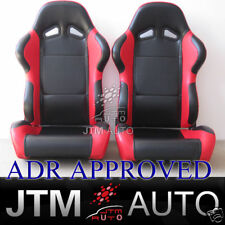 BN JTM PAIR BLACK RED RACING SPORT SEATS ADR APPROVAL