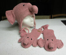 Pink Elephant HAT & MITTENS SET knit ADULT animal costume LINED trunk tail head