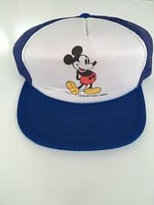 Vintage Disney Mickey Mouse SnapBack Trucker Mesh Navy Blue White Hat Cap