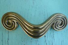 Vintage Art Deco Waterfall Curvy KBC Brass Handle Pull Original Patina
