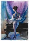 original painting A3 124BOK art samovar acrylic Modern female nude Signed 2021