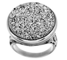 Round Drusy Quartz Floral Detail Sterling Silver Ring Size 9 -$118 QVC Sold Out!