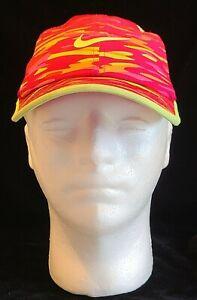 Nike Dri-Fit Featherlight Adult Hat Neon Pink/Yellow Adjustable Strapback NICE!!