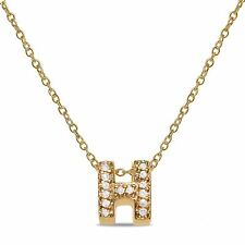 ".056CT Diamond Letter ""H"" Initial Necklace Pendant in 10k Yellow Gold for women"
