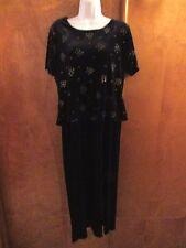 """Ladies """"T R Bentley"""" Size 12, Black, Faux Two Piece, Velour, Maxi Dress"""
