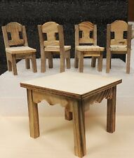 5 PIECES WOODEN KITCHEN/DINNING ROOM SET UNFINISHED DOLLS MINIATURE 1:12 SCALE