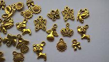 50pcs charms, antique gold tone