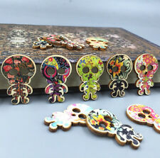 DIY 25X Wooden Printing Skull skeleton Buttons Fit Sewing decoration crafts 30mm