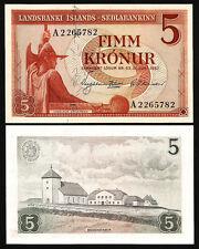 ICELAND 5 KRONUR 1957 UNC P.37a LANDSBANKI ISLANDS PREFIX A BUFF PAPER