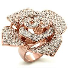 HCJ BIG ROSE GOLD TONE ROSE WITH CUBIC ZIRCONIA COCKTAIL FASHION RING SIZE 8