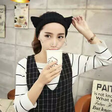 Cat Ears Headband Hair Band Halloween Ear Muffs Navy woollen wool Winter Skiing