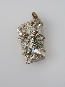 Large vintage handmade geode druzy natural rock crystal silver coating pendant