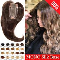 THICK 100% Human Hair Mono Topper Handmade 20inch Long Hairpiece Highlight P273