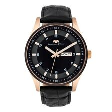 Rhodenwald Söhne Armband-Uhr Herren Couragian rosé gold Echtleder schwarz Uhren