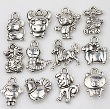 12X/Set Tibet Silver Chinese Zodiac Charm Loose Spacer Pendants Jewelry Findings
