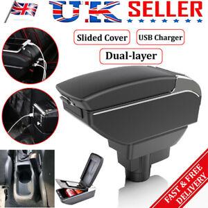 Armrest Sliding Black Dual Center Content Storage Box For  Opel/Vauxhall Corsa D