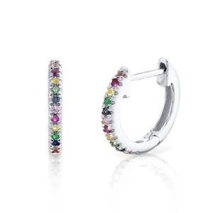 Natural Multi Sapphire multi Color Gemstone Huggie Earrings 14K White Gold