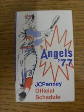 1977 Fixture Card: Baseball - California Angels (fold out style). Any faults wit