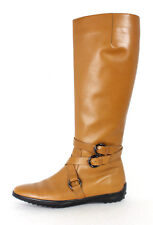 TOD'S Biscuit Brown Leather Double-Strap Buckle Flat Knee Boots 37