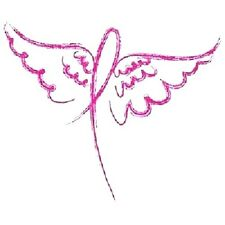 Breast Cancer Wing Ribbon HEAT PRESS TRANSFER for T Shirt Sweatshirt Fabric 735f
