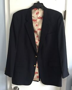 NEBRASKA CORNHUSKERS Mens 100% Wool Navy Blue Gold Button Blazer 44 Long - $295