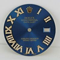 Diamond Roman Numeral Blue Dial to Fit Datejust 36mm Rolex - 1/2 carat weight