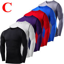 Mens Compression Shirt Armour Base Layer Tight Tops Thermal Skinny Shorts Pant