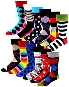 12 Pairs Premium Quality Bright Classic Assorted Designs Cotton Dress Socks