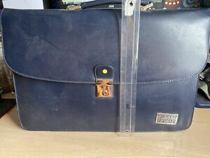 Blue Fake Leather Briefcase Satchel With Lots Of Compartments