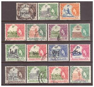 Basutoland QEII 1954-1961 x 15 stamps from first three Definitive sets used