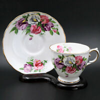 Vintage TUSCAN Bone China Tea Cup & Saucer - Sweet Pea Floral, Gold Trim England