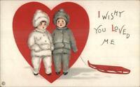 Valentine - Unsigned MEP Margaret Evans Price Childen Sled Postcard c1910