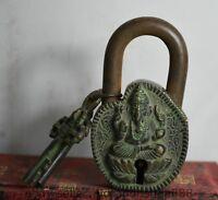 11CM Rare Vieille Chine Bronze Ganesha Elephant God serrure Ensemble de clés