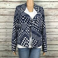 Sugarlips Abstract Houndstooth Moto Blazer Jacket MEDIUM Blue White Open Front