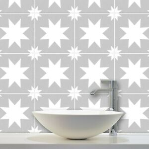 Modern Star Tile Stickers Transfers Kitchen Bathroom 7 Colour Choices -T26