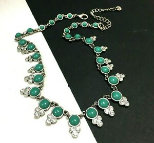 New ANN TAYLOR LOFT Turquoise & Rhinestone NECKLACE Silver Chain LL144M