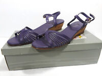 Vtg EAST FIFTH Sandals w/Box Womens 9 Strappy Cork Wedge LILAC Grape Violet 5th