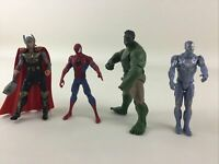 "Marvel Avengers 4"" Action Figure 4pc Lot Hulk Spiderman Thor Iron Man Hasbro"