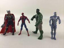 "Marvel Avengers 4"" Action Figure 4pc Lot Hulk Spiderman Thor Iron Man Hasbro"