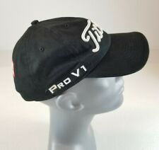 Titleist Pro V1 Golf Hat Black Strapback Hat White Raised Embroidery Tetra Pak