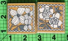 Poetic Prints Lot of 2 White Dogwood, Gardemia Flowers rubber stamp by Hero Arts