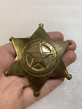 New listing Vintage Texas Rangers Star Police Badge Pin Brass Tone Metal