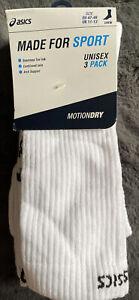 Asics Socks Made For Sport Unisex 3 Pack Crew Motion Dry UK 11-13