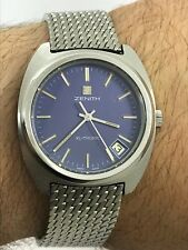 VINTAGE ZENITH XL-TRONIC QUARTZ BLUE DIAL S/S MENS 36x40mm SWISS MADE