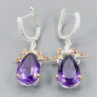 Amethyst Earrings Silver 925 Sterling Handmade26ct+  /E38128