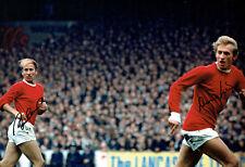 Bobby CHARLTON & Denis LAW Signed Manchester Utd 18x12 Autograph Photo AFTAL COA