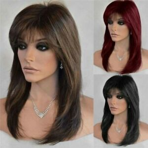 Medium Straight Hair Wigs w/Bangs Real Natural Full Wig Women Lady Party Cosplay