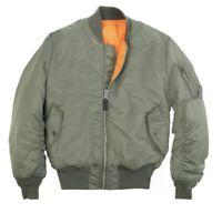 New NWT Sz M Men's Alpha Industries MA-1 Slim Fit Bomber Jacket Vintage Olive